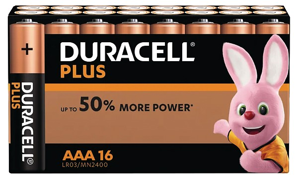 Pack de 16 piles AAA Duracell Plus Power