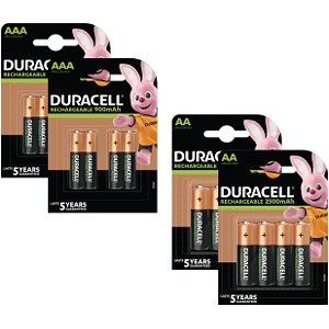 Pacco da 16 Pile AA & AAA Duracell Pre-Charged