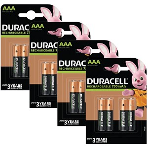 Duracell AAA 750mAh Rechargeable 16 Pack